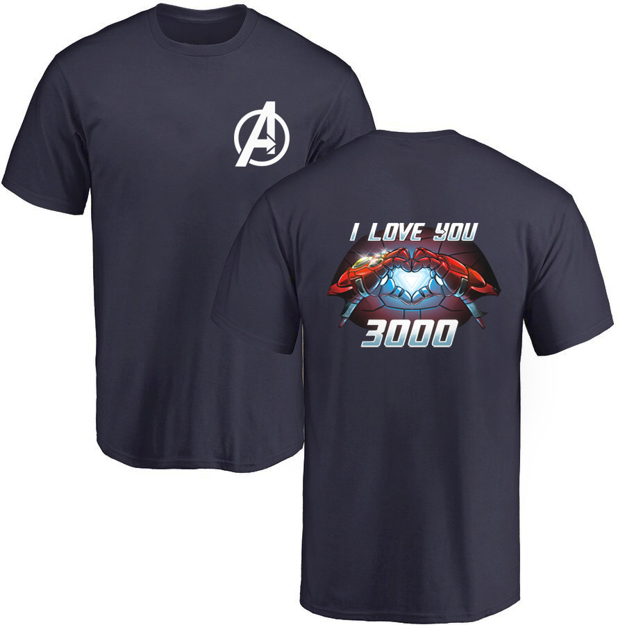 Tony Stark I Love You 3000 T-Shirt Men Iron Man Moive T-Shirt 2019 New Summer Casual The Avengers Tops Marvel Tees Plus Size 3XL