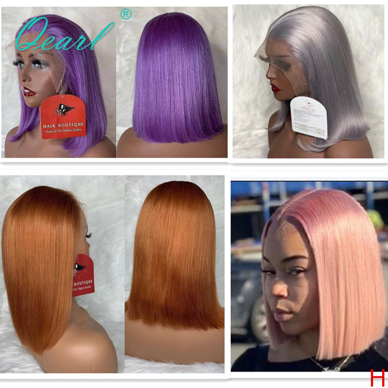 Human Hair Short Bob Lace Front Wig Purple Orange Silver Light Pink Color Straight Lace Wigs Remy Hair 13x4 130% 150% Qearl