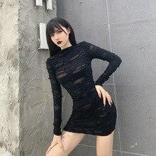 Mini Dress Rock Long-Sleeve Helisopus Streetwear Punk Bodycon Retro Black Hollow High-Waist
