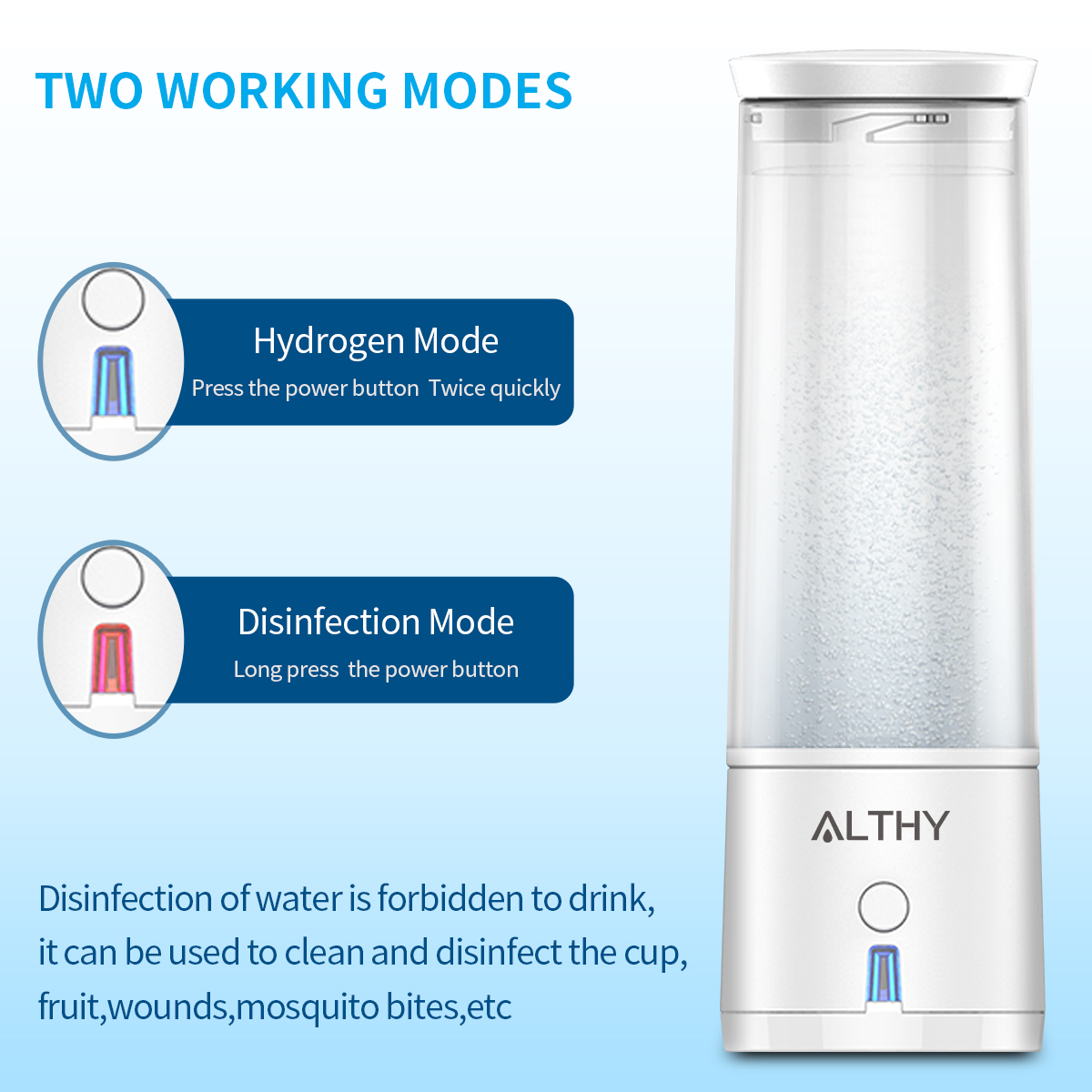 Image 3 - ALTHY SPE PEM Hydrogen Rich Water Generator Bottle lonizer H2 Maker Electrolysis Cup Anti Aging Portable USB RechargeableWater Filters   -