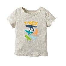 Детская футболка с короткими рукавами из чистого хлопка с рисунком динозавра летняя футболка с короткими рукавами с рисунком для маленьких мальчиков