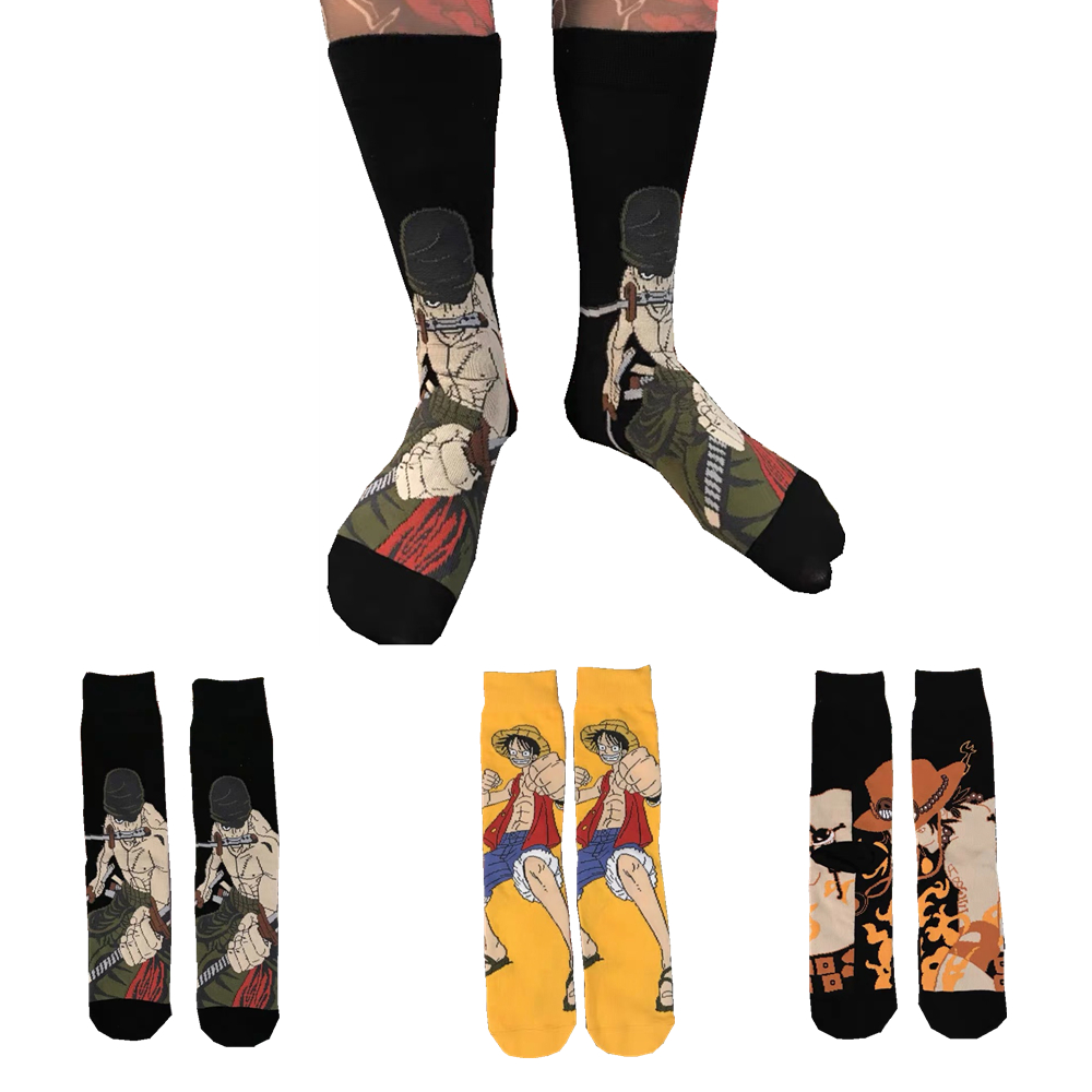 Men's Autumn Winter Cartoon Anime One Z Piece Luffy Dragon Z Ball Cotton Funny Socks Harajuku Fashion Trend Skateboard Socks