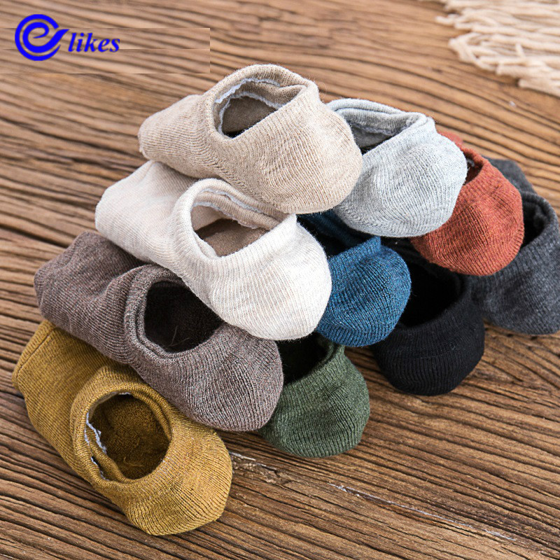 3 Pairs Autumn Winter Men's Socks Invisible Towel Style Warm Cotton Socks Silica Gel Anti-slip Boat Socks High Qualtiy Terry Sox