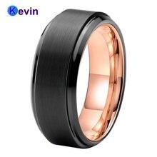 Мужское кольцо из карбида вольфрама обручальное черного розового