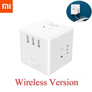 Image 1 - Xiaomi Mijia 2 In 1 Usb Charger Power Strip Draadloze Adapter 6 Poorten Socket Converter Ruimtebesparend Socket Plug outlet Magic Cube