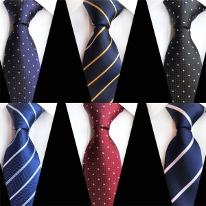 2020 Classic Striped Plaid Dot Design Men Business Neck Tie 8cm Silk Wedding Necktie Blue Red Black Purple Ties for Men A060