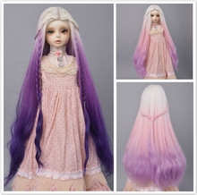 1/4 1/3 BJD/SD Doll Wig Hair High Temperature Fiber Long Wave White Pink Purple  Ombre Color Wigs for BJD/SD Dolls new arrival 1 piece 100cm long wigs wave small curly long wig hair tree for 1 3 1 4 1 6 bjd diy dolls hair