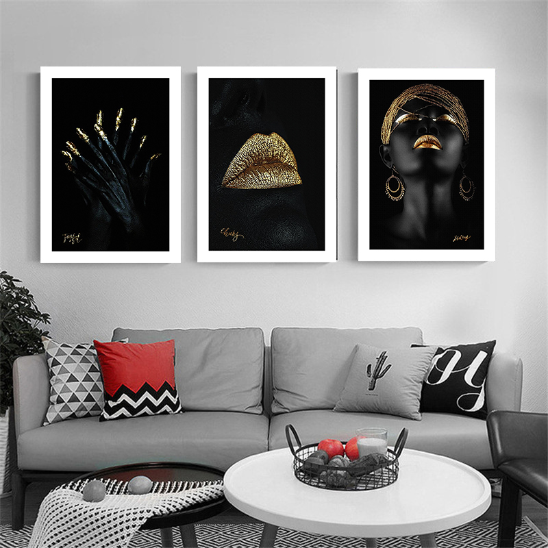 Contemplator Black African Nude Woman Oil Canvas Painting Scandinavian Poster and Print Wall Art Picture for Living Room Decor(China)