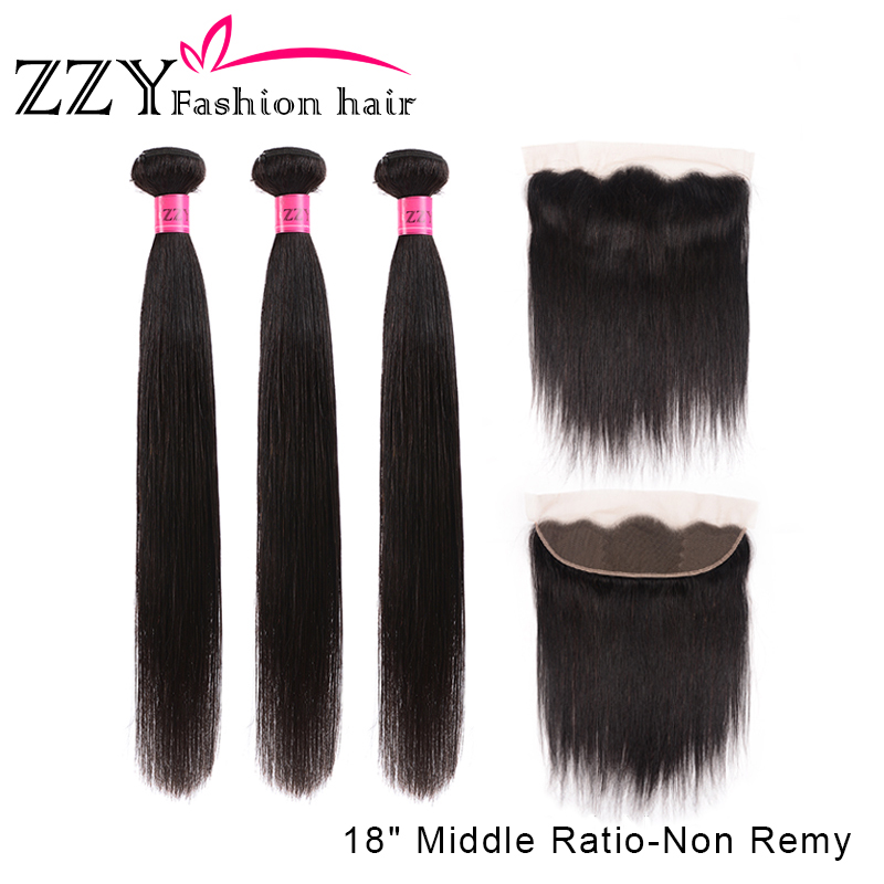 ZZY Fashion Hair Lace Frontal Closure with Bundles Straight Human Hair Bundles with Lace Closure Middle Innrech Market.com