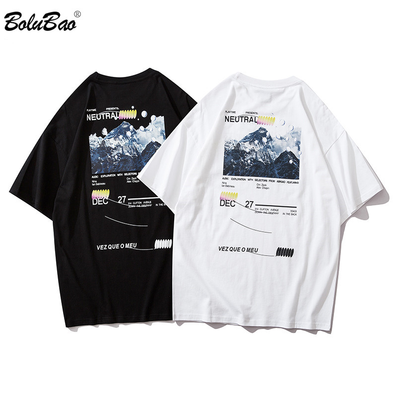 BOLUBAO High Quality Men's Fashion T-Shirt Streetwear Summer Men Snow Mountain Printing Hip Hop Casual T Shirts Male Cotton Tee