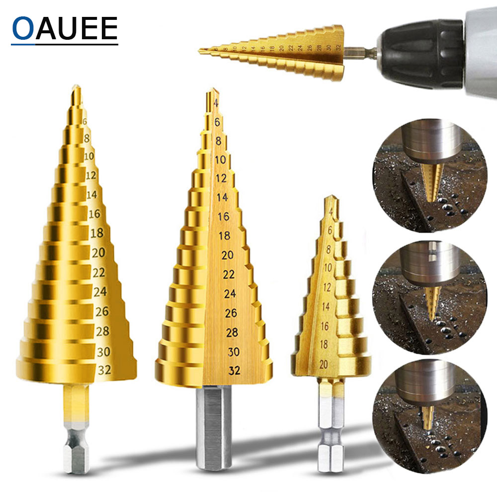 Drill Bit HSS Titanium Coated Step Drill Wood Set Power Tools For Metal High Speed Steel Hole Cutter Step Cone Center Drills