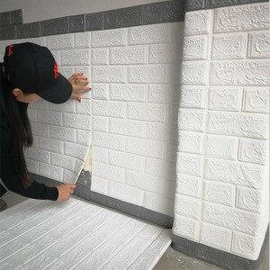 Image 4 - Adesivos de decoração de tijolo para casa, faça você mesmo, adesivos de tijolo para parede da sala de estar, quarto, espuma, arte de casa para crianças papel de parede 3d