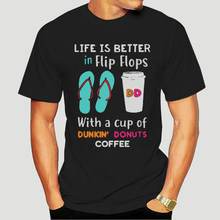 La vida es mejor en chanclas con una taza de Dunkin, Donuts, T-Shirt-0859A de café