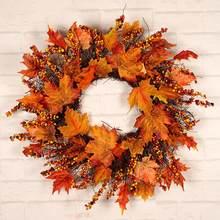 Grinalda porta outono grinalda natal ação de graças guirlanda janela restaurante casa folha de bordo decoração ornamentos do feriado pingente