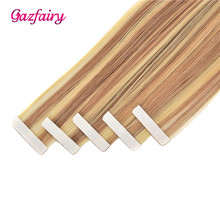 Gazfairy 16''-24''Skin Weft Human Hair Tape In Extensions Natural Color Remy Straight Double Sided Adhesives 20 Pieces