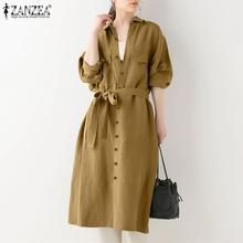Outwear Cardigan Maxi-Trench ZANZEA Womens Plus-Size Windbreak Solid-Coat Office Autumn