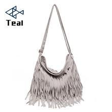 цены Women Messenger Bags Tote Handbag Tassel Shoulder Handbags Retro Faux Suede Tassel Crossbody Bag Bolsa Feminina