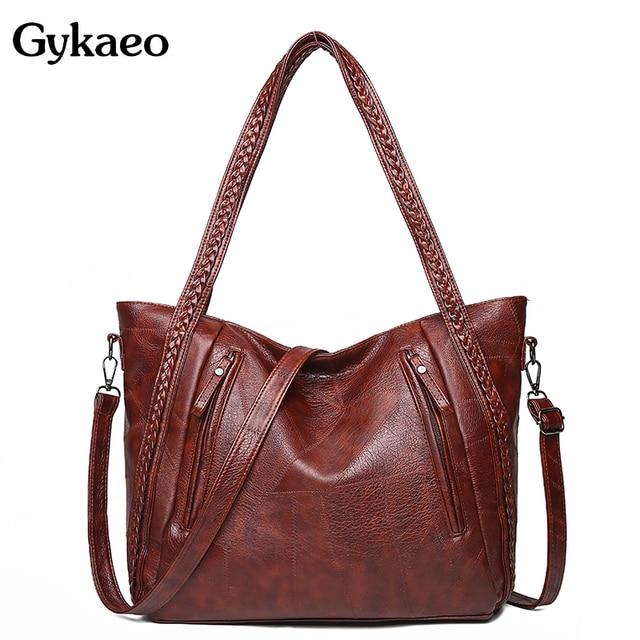 Gykaeo Luxus Handtaschen Frauen Taschen Designer Vintage Tote Tasche Damen PU Leder Große Kapazität Messenger Schulter Taschen Bolso Mujer