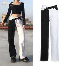 Женские зимние джинсы clacive в стиле пэчворк с высокой талией