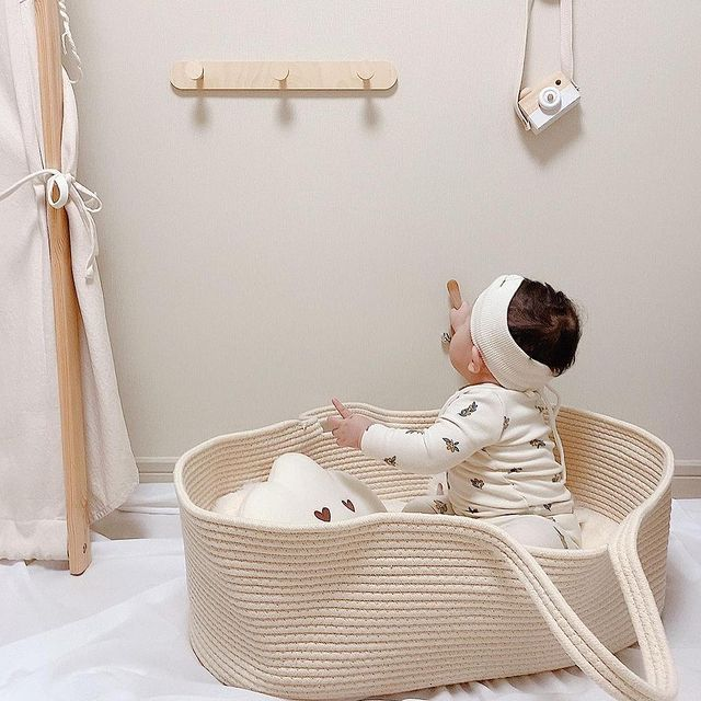 Baby Moses Basket Sleeping and Mattress Newborn Baby Sleeping Bed Cradle Moses Basket with Stand Travel Bed Co Sleeper