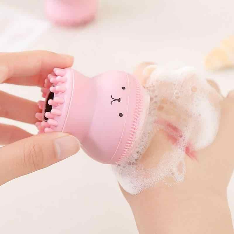 Ốp Hình Con Bạch Tuộc Rửa Mặt Bàn Chải Mềm Mại Làm Sạch Sâu Bàn Chải Tẩy Tế Bào Chết Sữa Rửa Mặt Se Khít Lỗ Chân Lông Làm Sạch Đẹp Giặt Bàn Chải