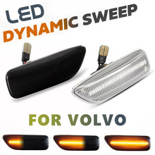 2Pc LED Dynamische Blinker Licht Fender Front Side Marker Lampen Für Volvo S80 XC90 XC70 V70 S60 2001-2009 #30722641/3072264