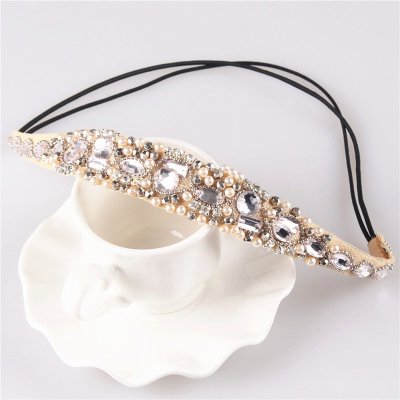 Light Pink European And American Hair Accessories Pure Production Beaded Headdress Rhinestone Mixed Lace Hair Lead Tape