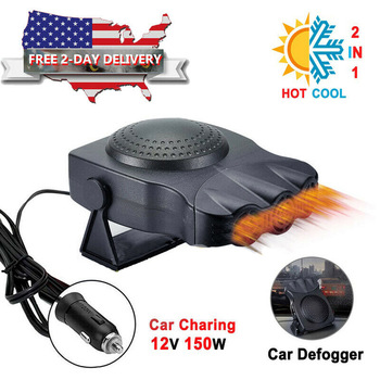 Rantion Black 3-Port 2in1 12V Portable Car Heater Car Defogger Auto Heating Cooling Fan Heater Defroster Demister With Bracket