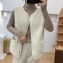 2020 Winter Vest Women Sleeveless Coat Faux Lamb Fur warm Jackets Korea Casual Solid Color V Neck Pockets Thermal Waistcoat