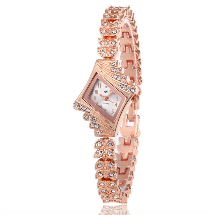 Fashion Lady Bracelet Watch Fashion Lady Contracted Square Stainless Steel With Exquisite Diamond Watches Flower Strap