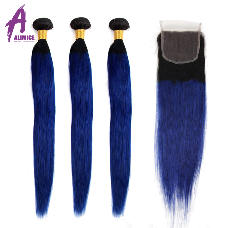Alimice Hair Ombre Brazilian Straight Human Hair Weave 3/4 Bundles With Closure T1b/blue Remy Hair Ombre Bundles With Closure