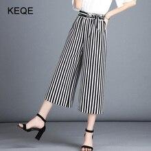 2020 Wide Leg Pants For Women Black High Waist Pants Female Plus Size Classic Stripe Pants Women's Summer Plaid Trousers BW051 plus color block hem plaid wide leg pants