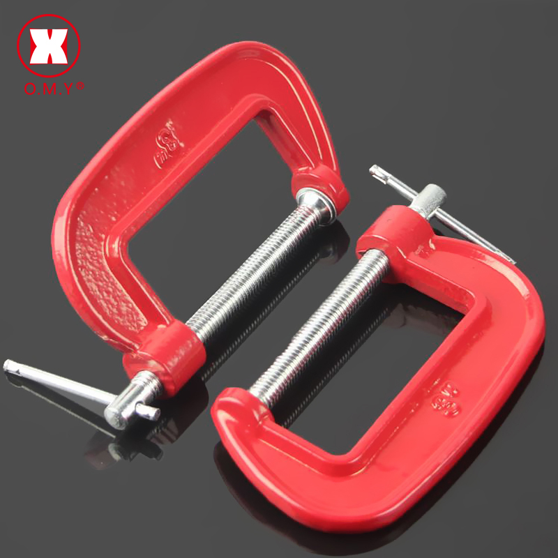 O.M.Y Adjust Heavy Duty G Clamp C/W Iron Red For Woodwork Metal Clamping Best Woodworking Hardware Tools Vise Hot