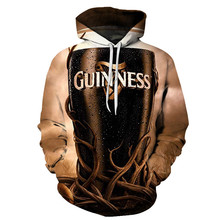 3D Men and Women 2019 Autumn Winter Print Hoodie Simpson Guinness Beer Casual Sweatshirt Street Personality Style