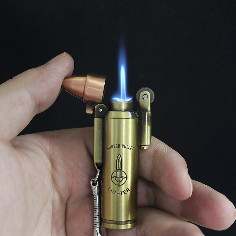 Flint Jet Torch Compact Lighter Retro Bullet Key Chain Turbo Butane Cigar Lighter Metal Gas Cigarette Windproof Pocket Lighter