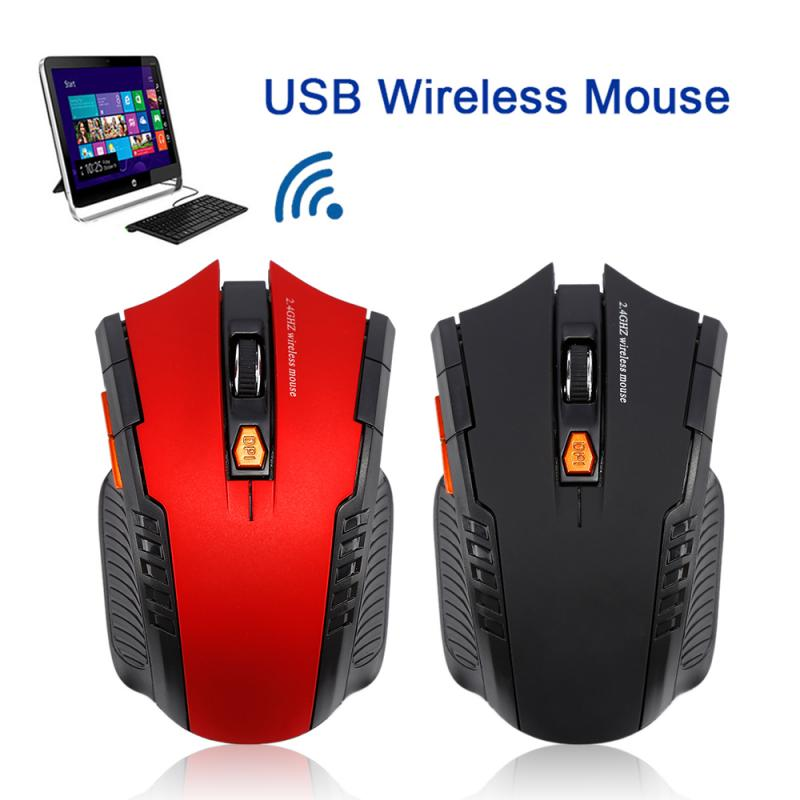 2.4GHz Wireless Office Optical Mouse Game Wireless Mice with USB Receiver Mause for PC Gaming Laptops Black