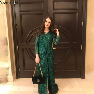 Image 3 - Serene Hill Fashion V Neck Sleeping Style Green Evening Dress 2020 Beading Diamond Long Sleeves Formal Party Gown CLA6004