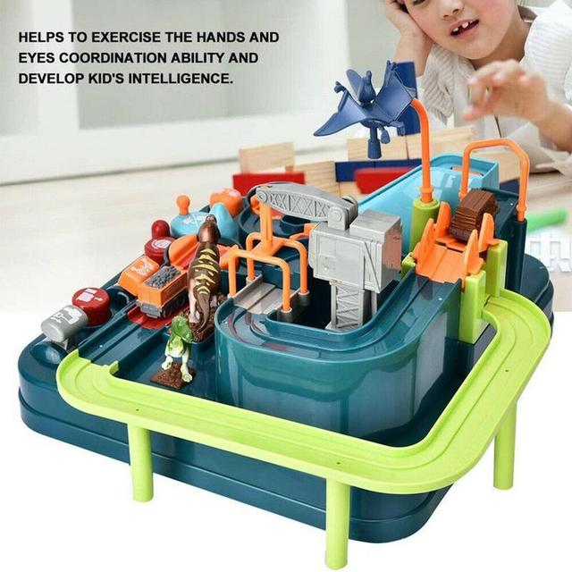 2019 Dinosaur Party Car Adventure Toy Set Track Elevator Race Hand-eye Coordination Puzzle Toy Kids Birthday Gift Christmas Gift 2