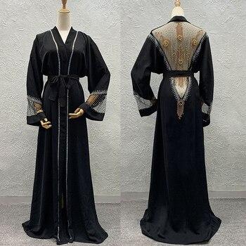 Vestido musulmán Abayas de Dubái, Kaftan Abaya, conjunto de hiyab, piedras brillantes,...