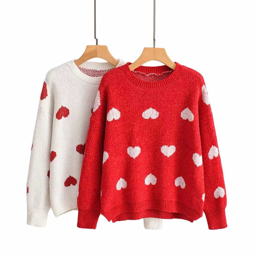 Withered ฤดูหนาวเสื้อกันหนาวผู้หญิงแฟชั่น blogger lover ถัก Jacquard onesize o-neck ดึง femme ผู้หญิง pullovers tops