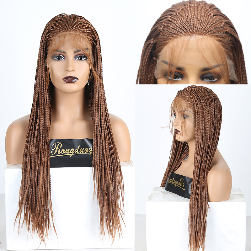 RONGDUOYI Heat Resistant Hair Synthetic Lace Front Wig Long Braided Box Braids Wigs For Women Ash Blonde Cosplay Lace Wig