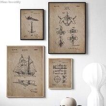 Pósteres de pintura en lienzo con patente de navegación de barco Vintage, decoración de arte de la pared náutica, Fotos, Arte Steampunk impreso, decoración de baño