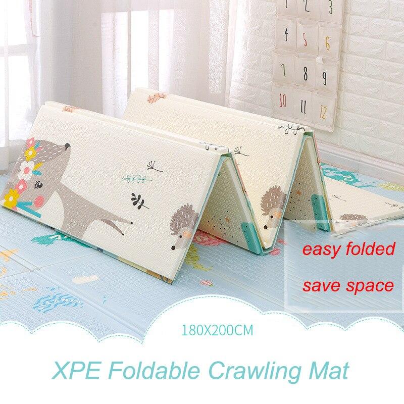 Коврик XPE толщиной 1 см, мультяшный коврик, детский коврик для игры, складной нескользящий коврик, детский игровой коврик 180x200 см