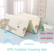 Xpe tapete infantil dobrável 180x200cm, tapete de desenho animado para crianças, antiderrapante e dobrável
