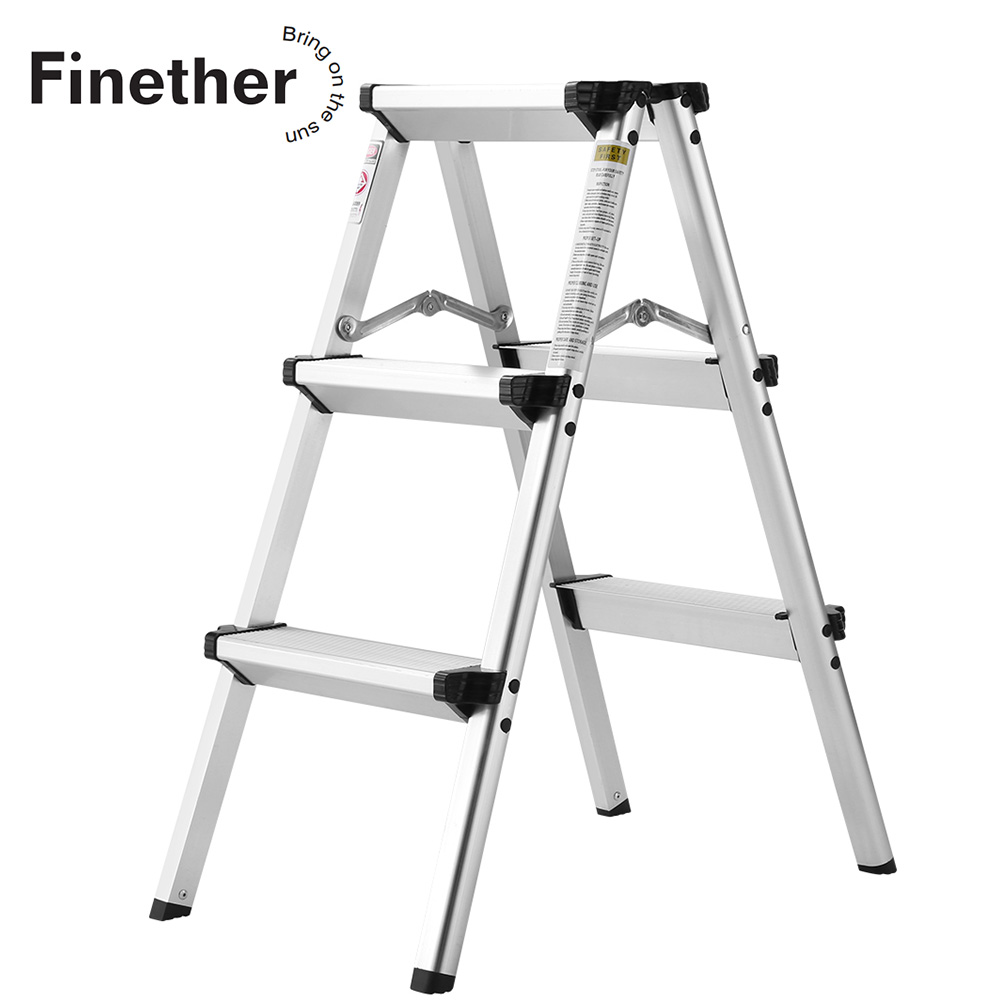 Finether 2.4 Ft High Aluminum Folding Double Sided Step Ladder EN 131 Certified Lightweight Portable Compact Step Ladder