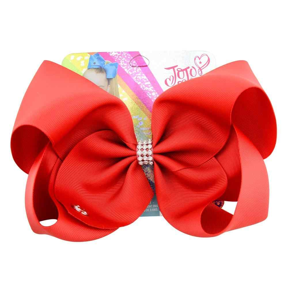 8 inch Large Jojo Bows Jojo Siwa Ribbon Bows With Clips For Kids Girls Boutique Solid Hair Clips Hair Accessories