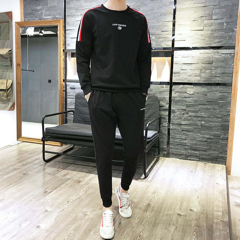 MEN'S Suit 2019 Spring Long-sleeved Sweater Trousers Casual Sports Two-Piece Set Korean-style Fashion Handsome