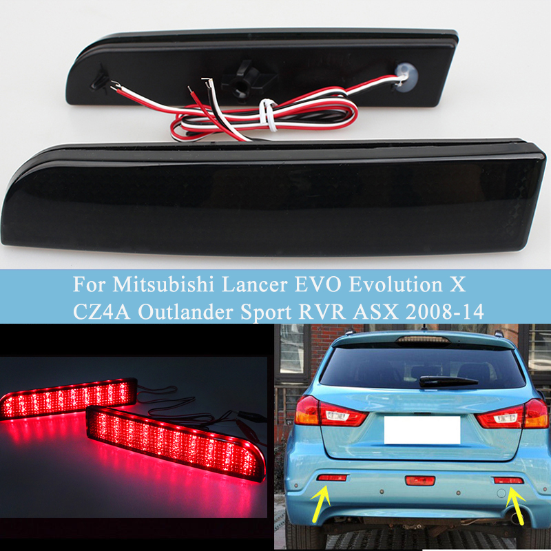 MZORANGE LED Tail Brake <font><b>Light</b></font> For <font><b>Mitsubishi</b></font> Lancer EVO Evolution X CZ4A <font><b>Outlander</b></font> Sport RVR ASX <font><b>2008</b></font>-14 Bumper Reflector image