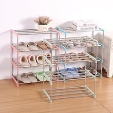Household Simple 4 Layers Stainless Steel Shoe Rack  Standing Shoe Rack DIY Shoes Storage Shelf Home Organizer Home Organizer