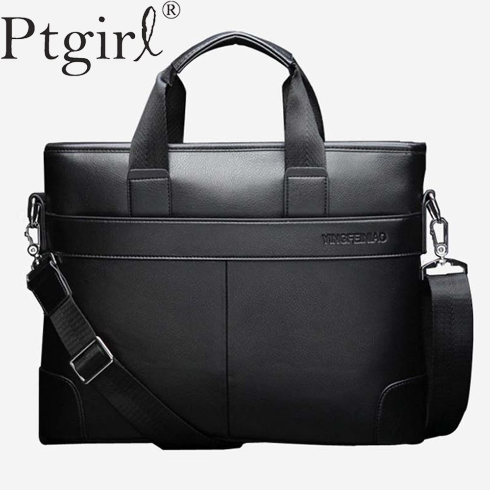 2019 Men's Business Black Casual Bag Pu Leather Briefcase Tote Bag High Quality Male Business Large Capacity Bandolera Hombre